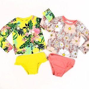 Baby Gap Rash Guard Swim Suits 2T Yellow Tropical